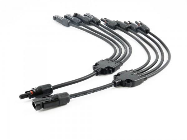 Solar Stecker Kabel kompatibel mit MC4 4 fach Verteiler Solarstecker