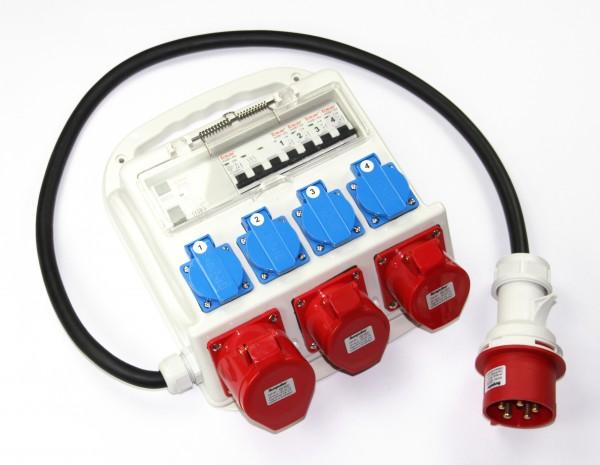 Baustromverteiler 4 x 230V, 2 x 400V 16A, 1 x 400V 32A mit FI-Schutzschalter